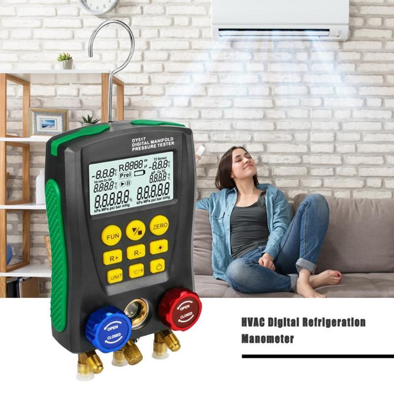 DY517 Medidor de Pressão Digital De Refrigeração Manifold De Pressão De Vácuo Medidor de Temperatura Tester Monitorar Vazamentos 0 Kpa ~ 6000 Kpa