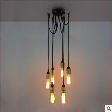 6 Heads Retro Loft Style Industrial Pendant Lamp Lighting Fixtures Edison  Lampe Vintage Lamparas Iluninalion Lampen In Pendant Lights From Lights U0026  Lighting ...