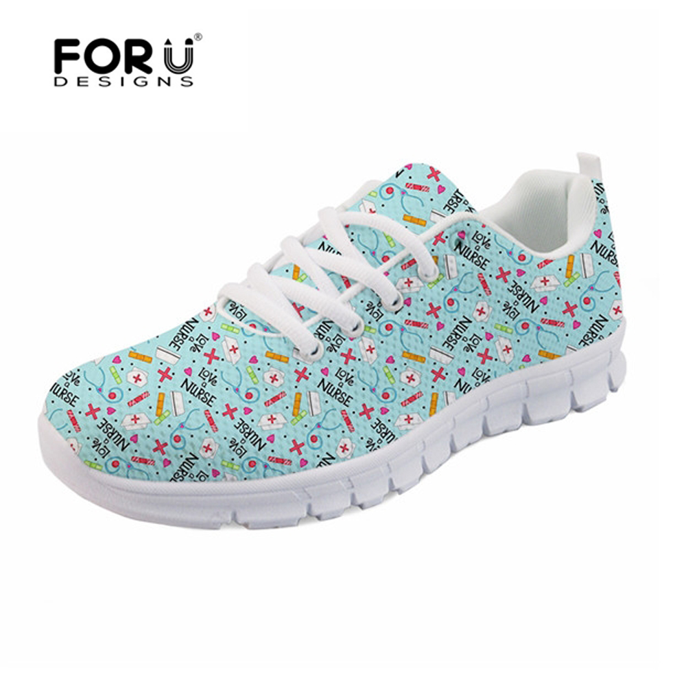 FORUDESIGNS Cute Women Casual Sneakers Flats Cartoon Nurse Pattern Women's Light Weight Breathable Mesh Shoes for Ladies Flats instantarts fashion women flats cute cartoon dental equipment pattern pink sneakers woman breathable comfortable mesh flat shoes
