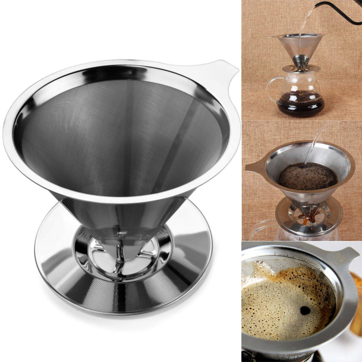 Stainless Steel Pour Over Cone Coffee Dripper Double Layer Mesh Filter Paperless Home Kitchen Brewing Helper In Tea Strainers From