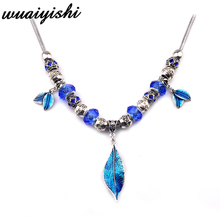 Necklace Latest Gifts Simple Female New Pendant Fashion Silver Blue Leaves Retro Ms. Gift Charm 2019 Hot Sale Beads
