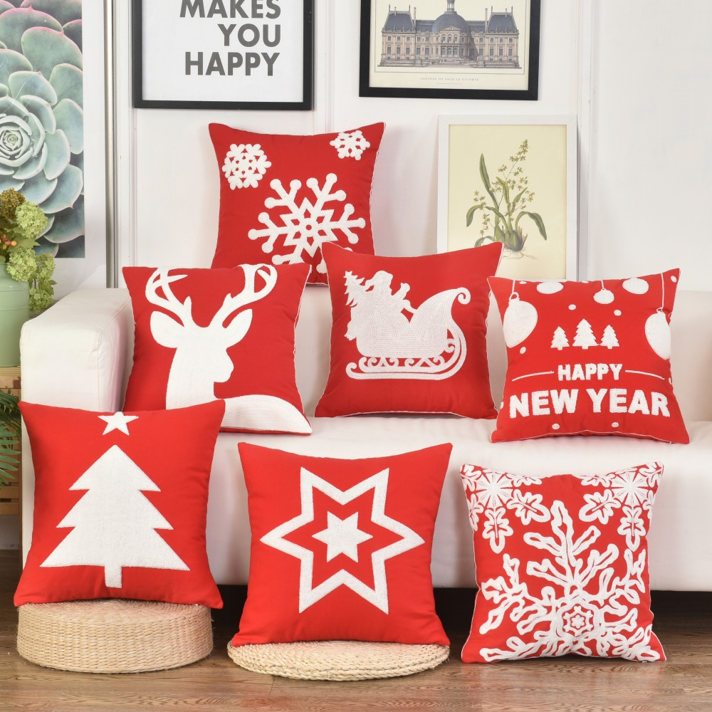 2018 Christmas Embroidered Cushion Cover Cotton Fall