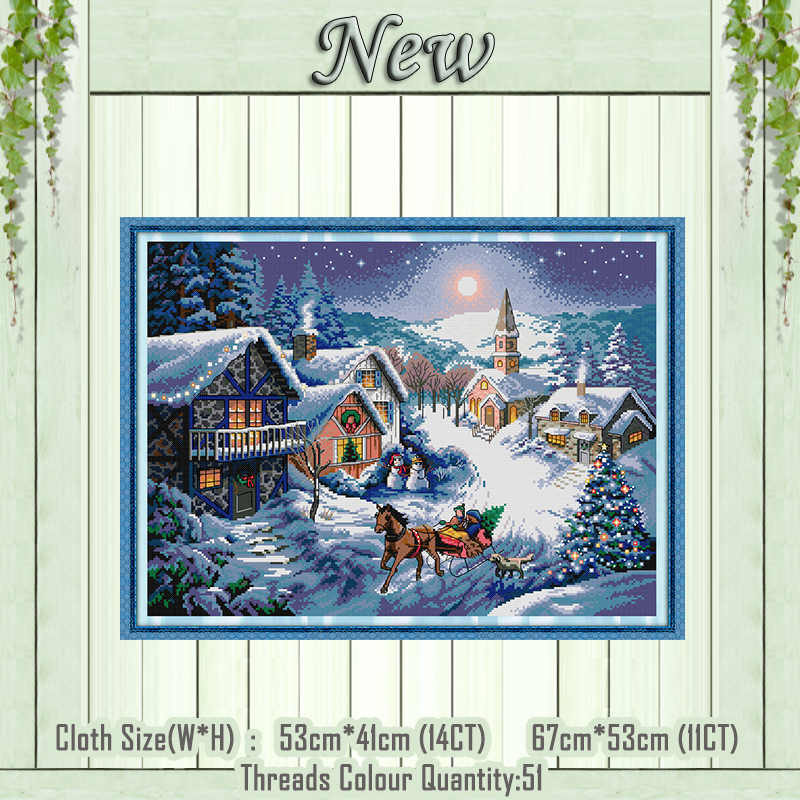 Dusk in the snow 11CT Counted printed on Canvas DMC 14CT Cross Stitch Embroidery kits Needlework Set DIY crafts House wall Decor
