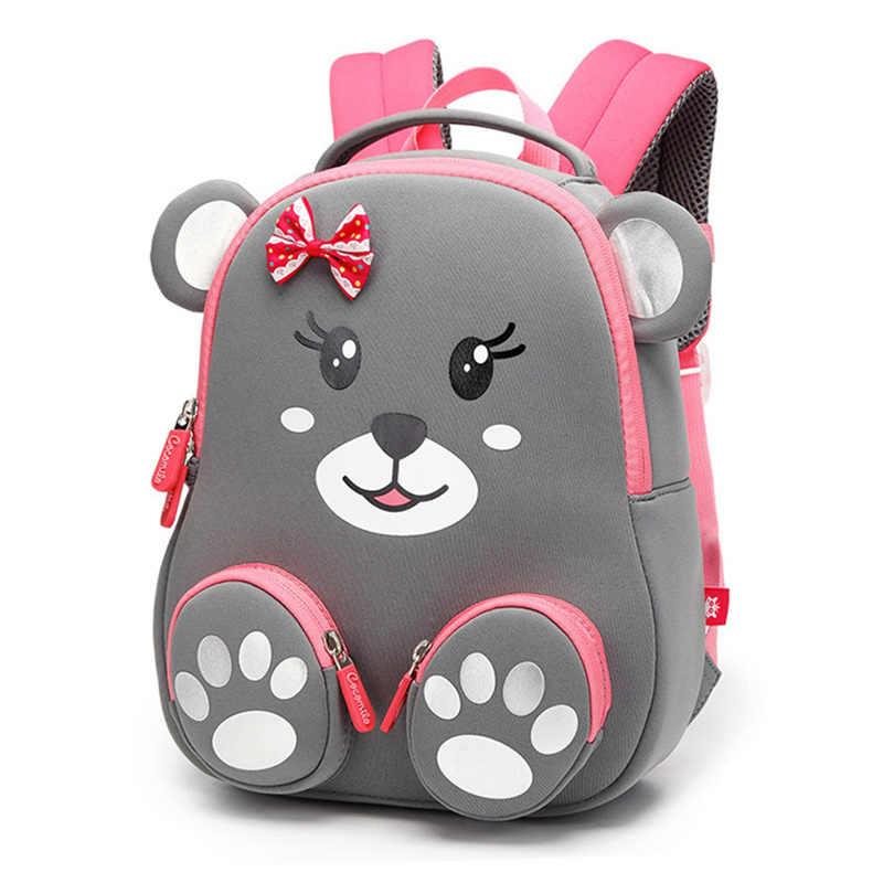 Moda dla dzieci plecak szkolny dla dziewczynek 3D piękny niedźwiedź torby szkolne śliczne ze wzorami zwierząt plecaki dla dzieci torba dla dzieci Escolares