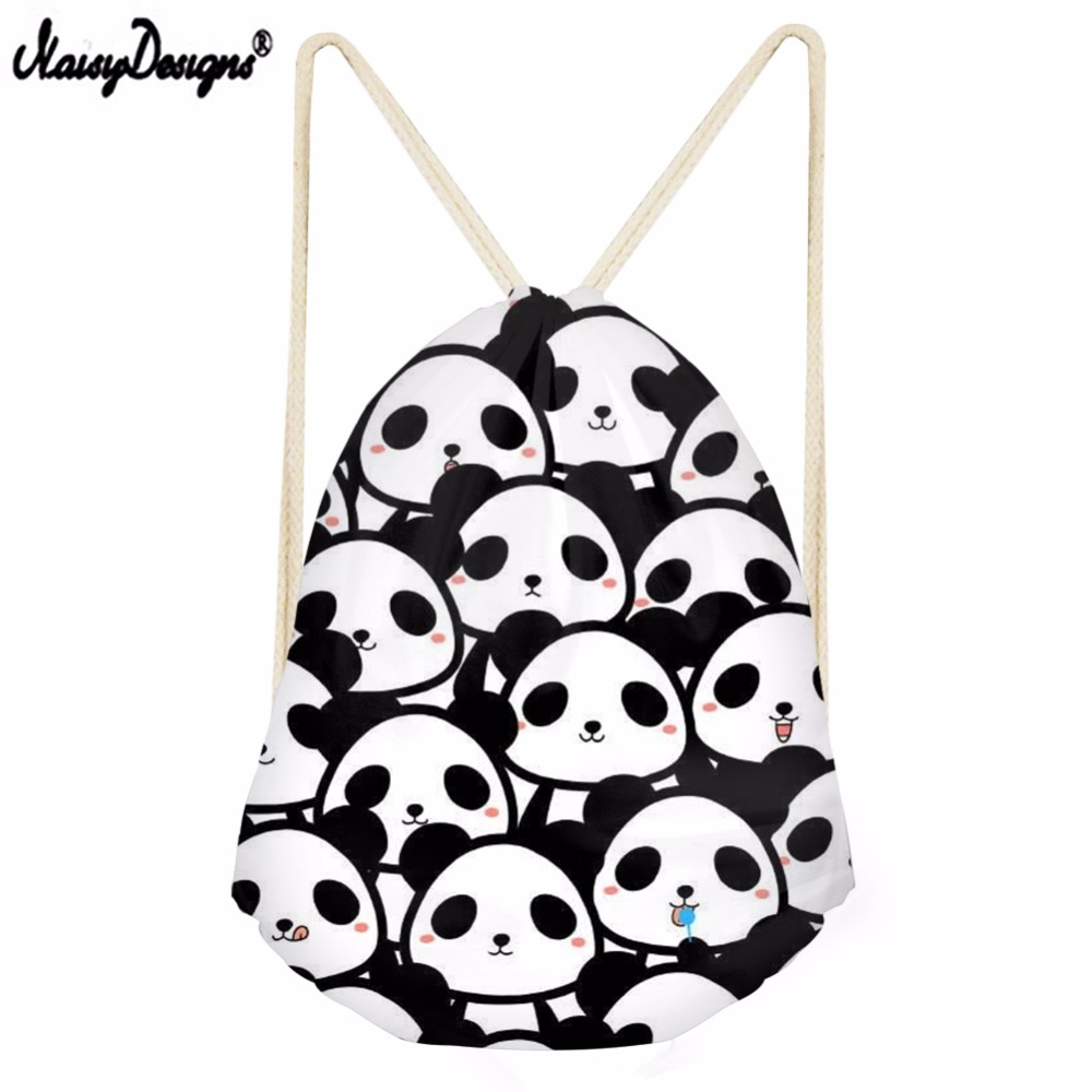 Noisydesigns Cartoon Funny  Bear Printed Drawstring Bag Liittle Girl Shoulder Bag Boy Mini Backpack Female Panda Patter Bagpacks