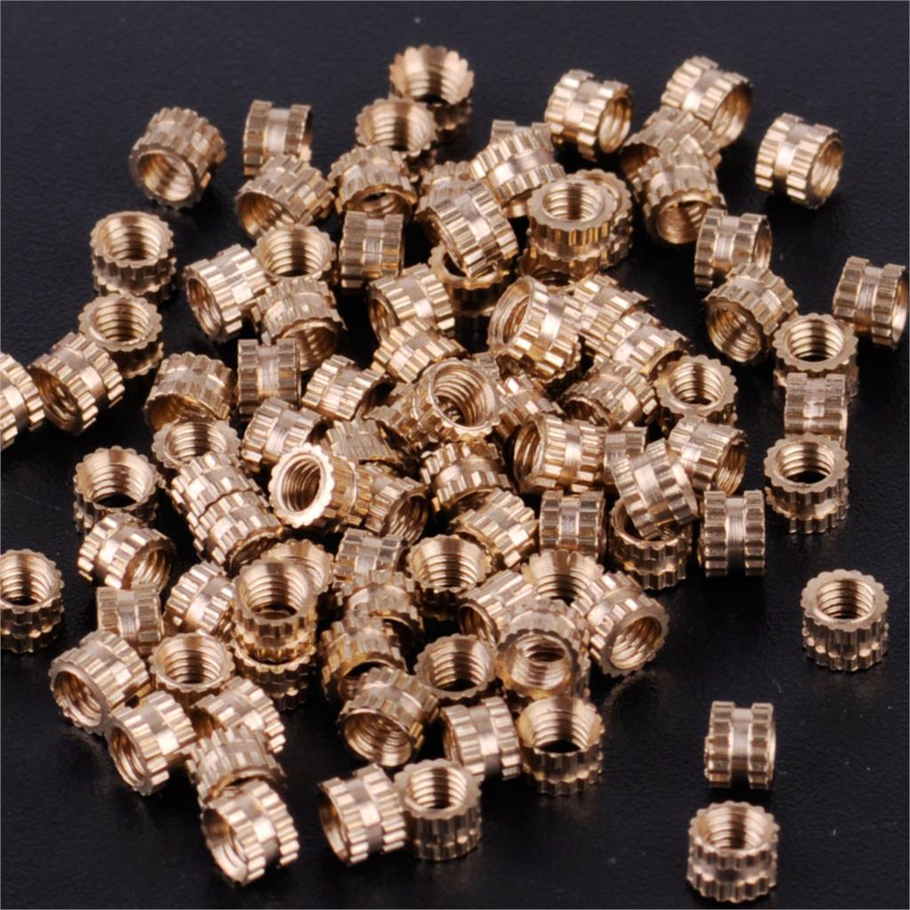 100PCS M3x3 Brass Cylinder Knurled Threaded Round Insert Embedded Nuts Light Fixtures
