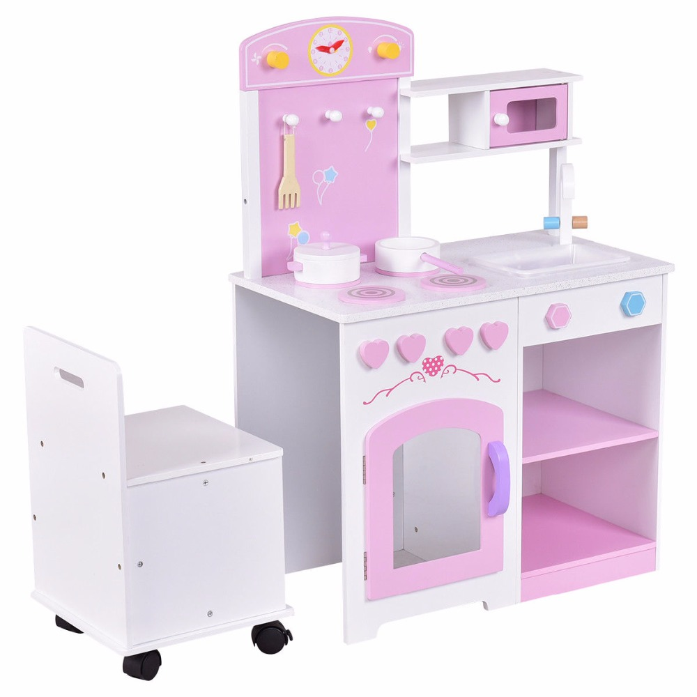 2 in 1 Kids Kitchen Play Set with Chair Wood Pretend Toy Cooking Set Children Cabinet Toddler Cook Playset Gifts