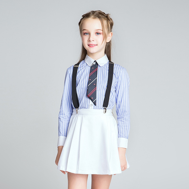 School Striped Shirt+Skirt Girls Clothes Set School Chorus Stage Uniform Girls Clothes For 4 6 8 10 12 14 16 Years Old RKS185001