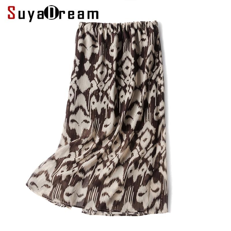 Women Silk Skirt 100 REAL SILK CREPE Empire Printed Skirts for Women 2019 Spring Summer Office