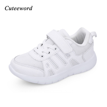 Leather childrens shoes brand fashion for girls school kids running breathable mesh sneakers white sports shoe