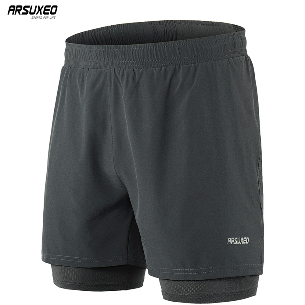 ARSUXEO 2019 Running Shorts Men Active Training Exercise Jogging 2 In 1 Sports Shorts With Longer Liner Quick Dry B192