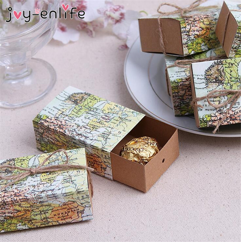 20pcs lot diy wedding map favor box traveling theme for Application box decoration