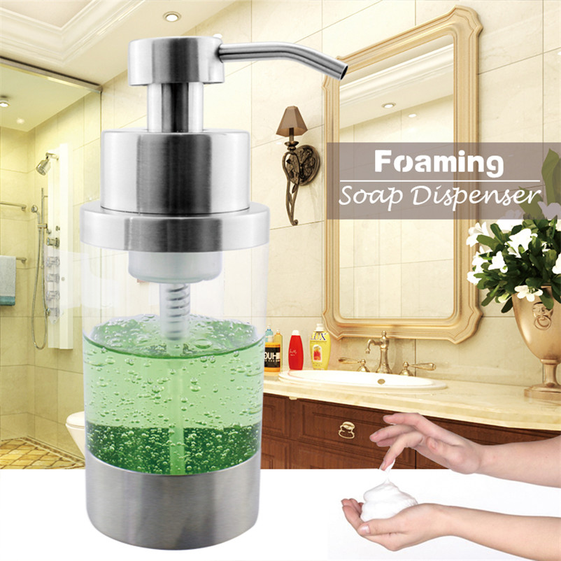 304 Stainless Steel Foaming Soap Dispenser Pump Bottle Bathroom Kitchen  Countertop Refillable Accessory Acrylic 250ML In Liquid Soap Dispensers  From Home ...