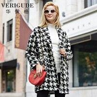 Veri Gude Women Woolen Coat for Winter Plaid Pattern Long Overcoat Women Long Style Bird Outwear Double Breasted V-Neck Coat