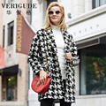 Veri Gude Women Woolen Coat for Winter Plaid Pattern Long Overcoat