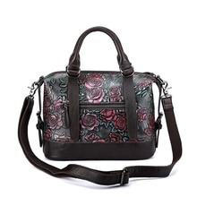 2018 ESUFEIR Genuine Leather Boston Women Handbag Embossed Leather Shoulder Bag Pillow Bags Ladies Bag bolsa feminina sac a main