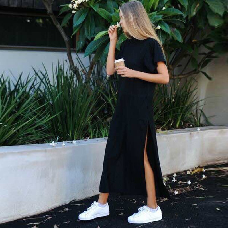 Maxi T Shirt <font><b>Dress</b></font> Women Summer Beach Casual Work <font><b>Sexy</b></font> Boho <font><b>Elegant</b></font> Vintage Bandage Bodycon Black Split <font><b>Long</b></font> <font><b>Dresses</b></font> image