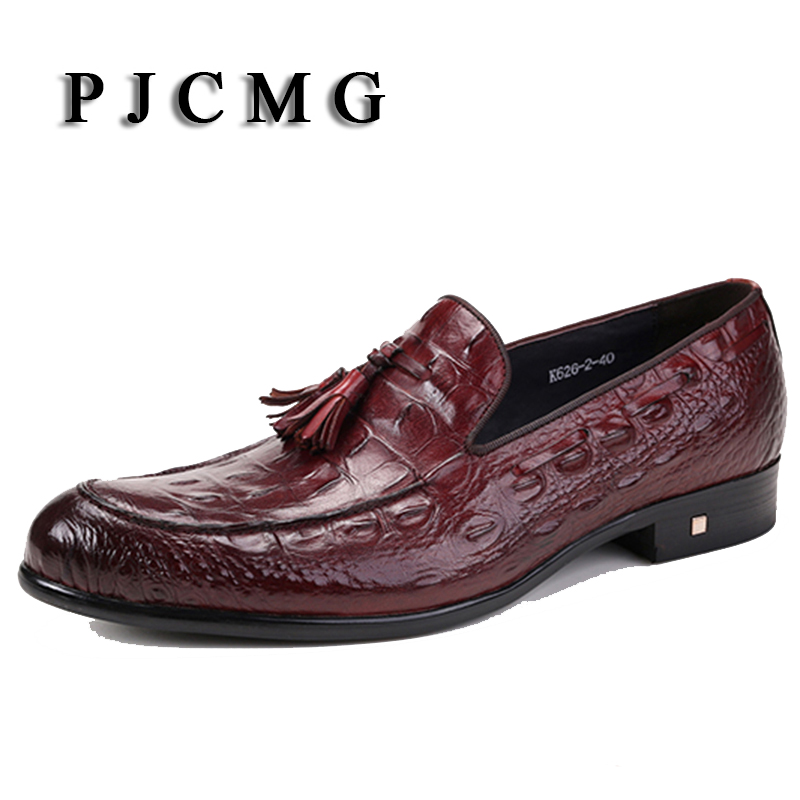 PJCMG Fashion Comfortable High Quality Spring/Autumn Slip-On Pointed Toe Genuine Leather Flat Man Dress Shoes With Tassel