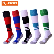 R-BAO Kids Soccer Socks Sport Footwear Long Terry Cloth Towel Football Above Knee Tube Durable meias Children Futbol