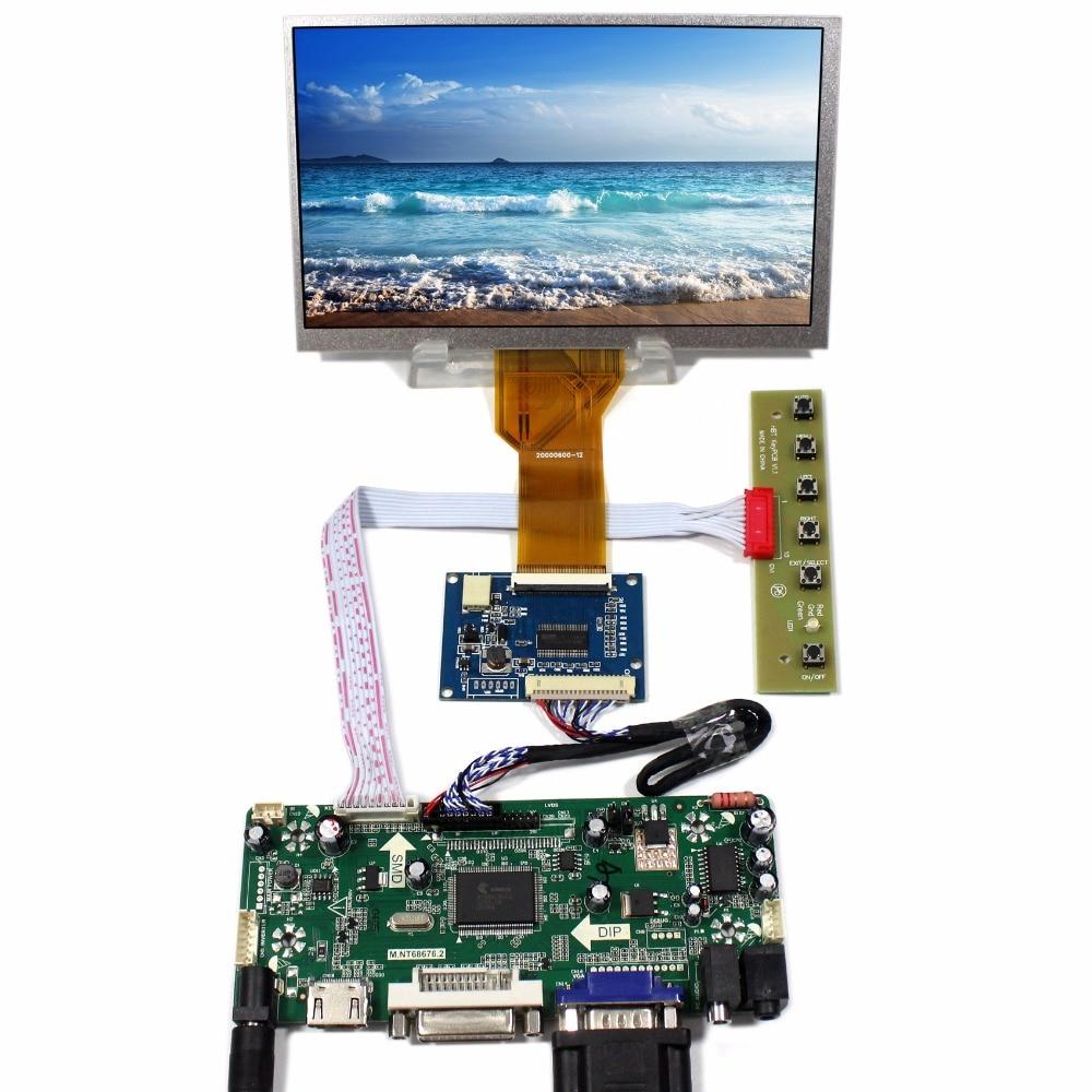 HDMI+DVI+VGA+Audio LCD controller board+Tcon board+7inch AT070TN92 800*480 Lcd panel hdmi dvi vga audio lcd controller board lvds tcon 5inch at056tn53 v1 640x480 lcd