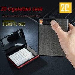 20 papierosów cienka aluminiowa Metal automatyczna papierośnica Box z USB akumulator wiatroodporny zapalniczki