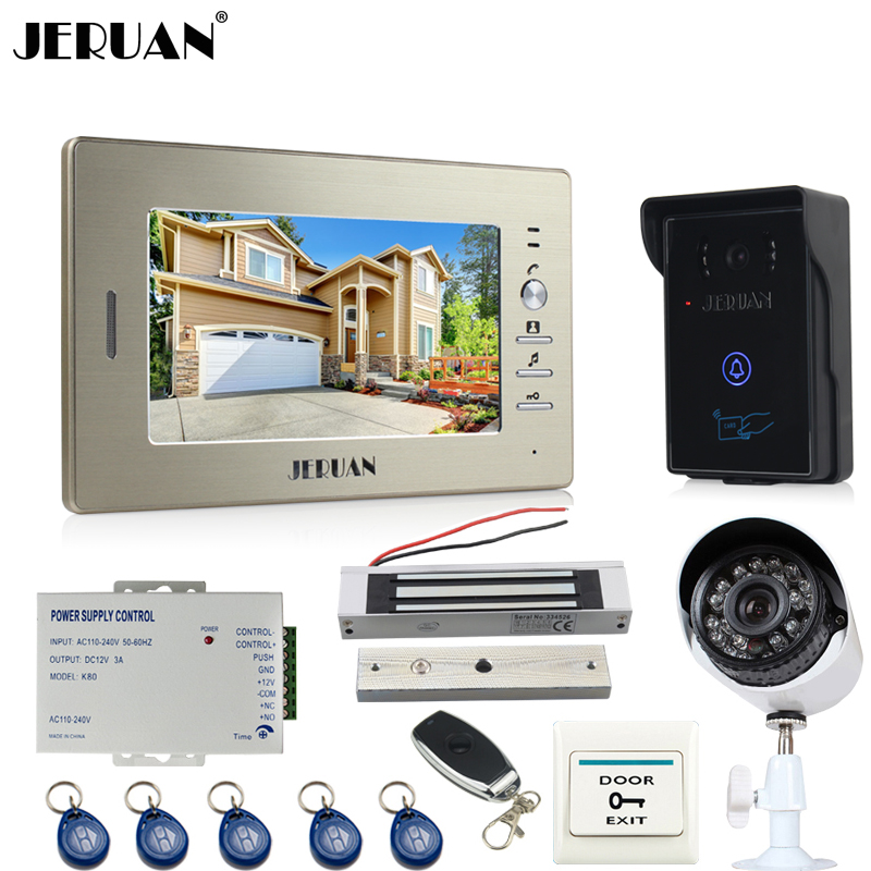 JERUAN Home 7`` LCD video door phone intercom System monitor brand new RFID waterproof Touch Camera+700TVL Analog Camera jeruan home wired 7 lcd video door phone intercom system 700tvl rfid waterproof touch key password keypad camera free shipping