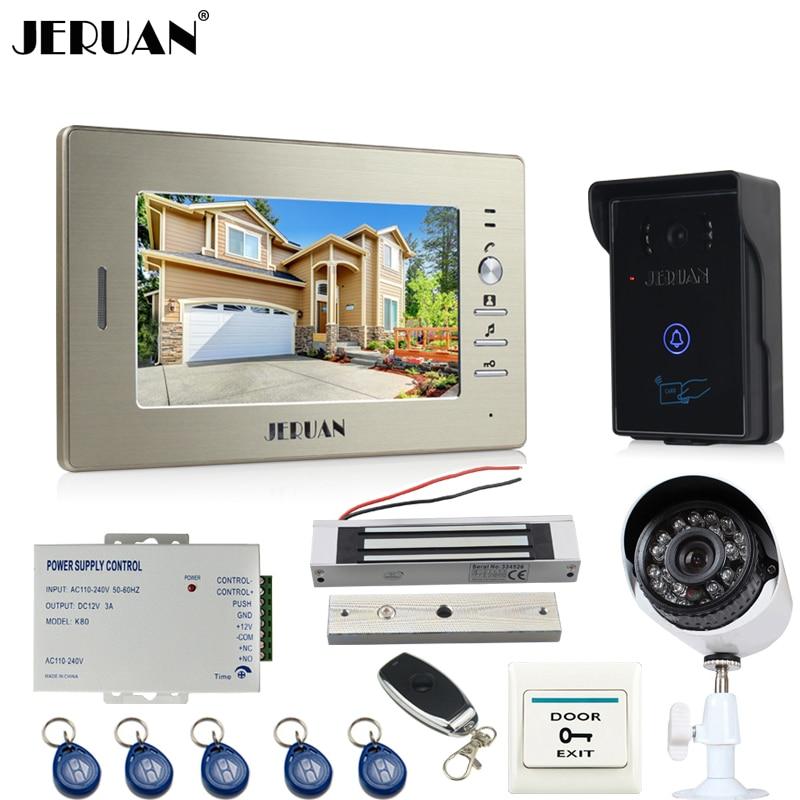 JERUAN Home 7`` LCD video door phone intercom System monitor brand new RFID waterproof Touch Camera+700TVL Analog Camera