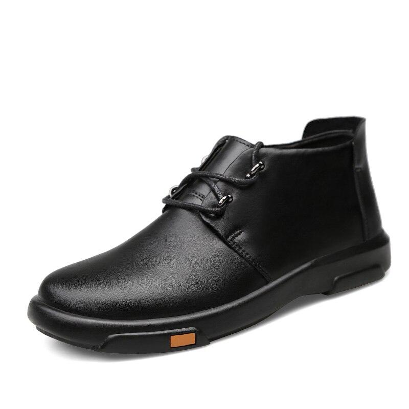 Xx Erkek Véritable Mode noir Cuir Zapatos Bot marron Bottines Fur 349 Chaussures Hiver Black De Pour Automne Décontracté Hombre brown Bottes Hommes Fur wrwZH58q