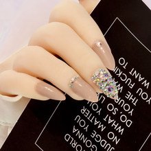 Cool coffee Press On Nails Bling AB crystal Nail Art fake nails natural False nails stiletto with Stickers 24pcs Pure color(China)