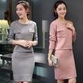 Las mujeres Traje de Otoño de Manga Larga Casual O-cuello de Punto Jerseys jerseys de Punto Tops y Falda 2 Unidades Set Pink Gray LY817
