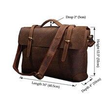 Classic Genuine Leather Men's Briefcase Laptop Handbag Messenger Bag Men 7082R