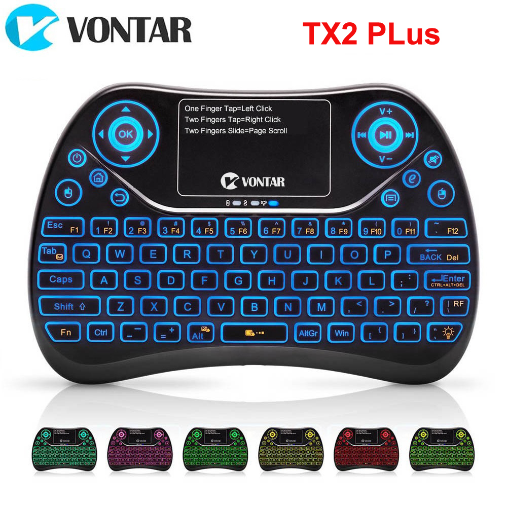 VONTAR TX2 Plus Air Mouse QWTREY Keyboard 2.4G Wireless mini Keyboard Touchpad Fly mouse With Backlit Android TV BOX X96mini X96 цена и фото