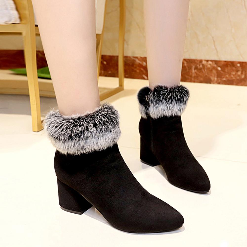 shoes Boots Women Suede Ladies Faux Warm Ankle Slip-On Boots Shoes Middle Heels Martin boots women 2018Nov1 41