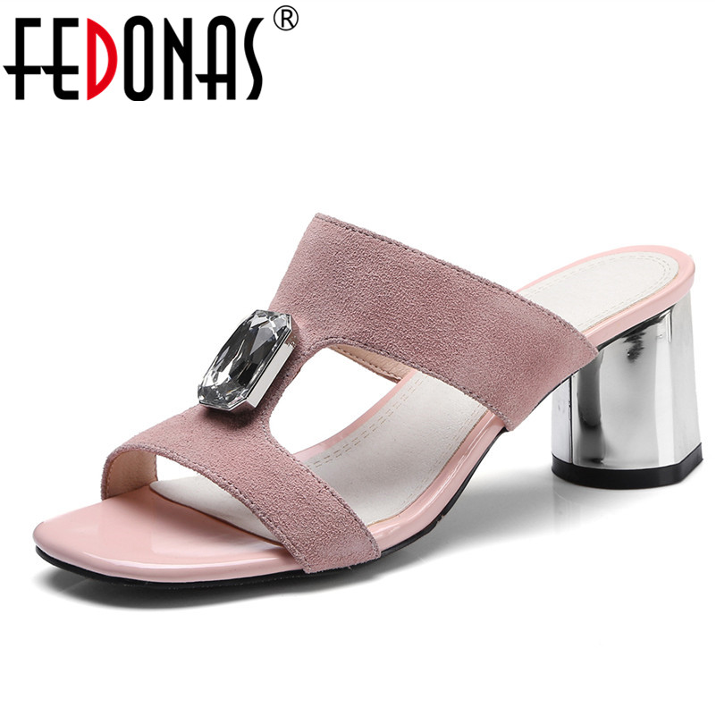 FEDONAS Women Sandals 2020 Ladies Summer Slippers Genuine Leather Shoes Woman high Heels Sandals Fashion Rhinestone