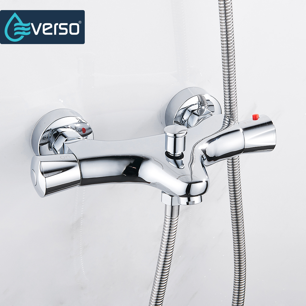 EVERSO Bathroom Shower Faucets Water Control Valve Wall Mounted Faucet Ceramic Thermostatic Mixer Valve Tap dual handle thermostatic faucet mixer tap copper shower faucet thermostatic mixing valve bathroom wall mounted shower faucets