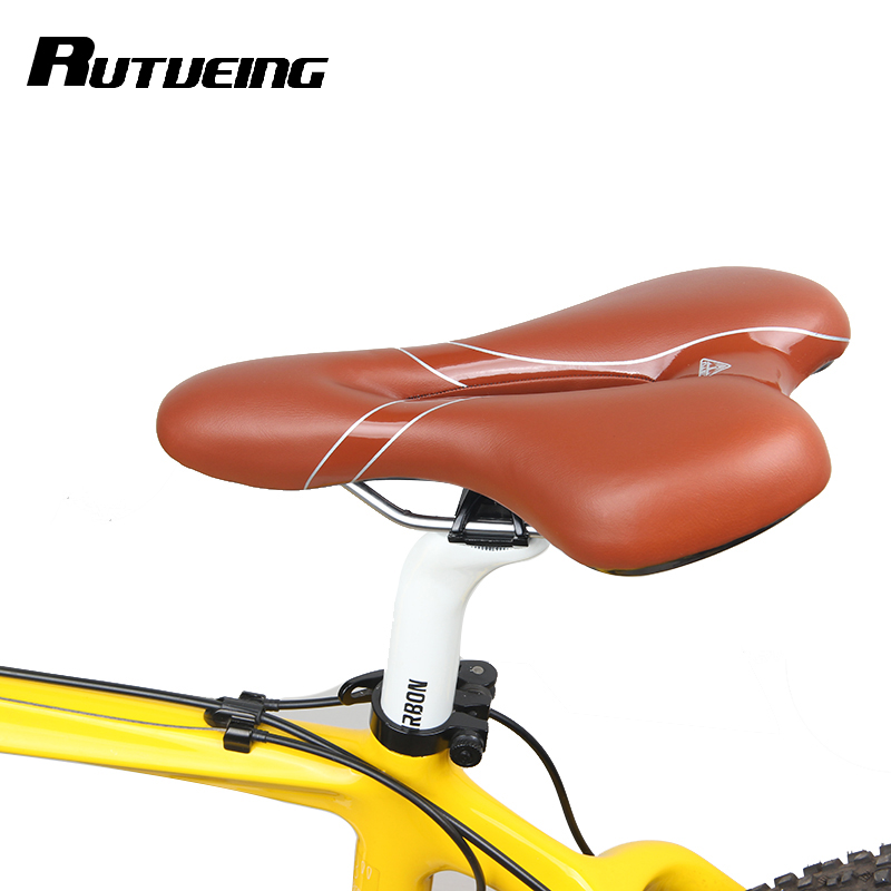 RockBros Cycling Saddle Cushion Thick Large Comfort Bicycle Saddle Brown