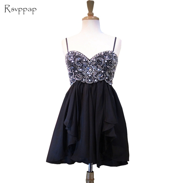 Black Strapped Short Homecoming Dresses