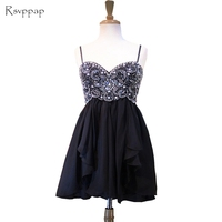 Cute 8th Grade Prom Dresses 2019 Sweetheart Spaghetti Strap Top Crystal Beads Short Black Homecoming Dress