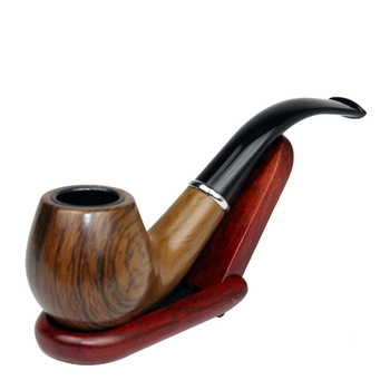 Classic Wood Grain Resin Pipe Chimney Filter Long Smoking Pipes Tobacco Pipe Cigar Gifts Narguile Gift Grinder Smoke Mouthpiece