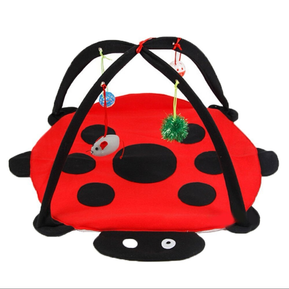 Pet Cat Play Tent Toys Mobile Bed Activity Playing Pad Blanket House Furniture With Ball