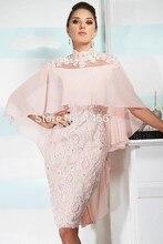 Dressgirl Rosa Cocktailkleider 2017 Mantel Hoher Kragen Mit Kurzen Ärmeln Chiffon Appliques Spitze Short Mini Homecoming Kleider