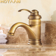 "Hot selling Free shipping 6"" Antique Brass Basin Faucets Crane Sink Basin Water Mixer Tap torneira YT 5065"