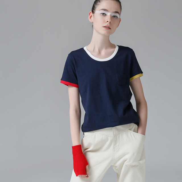 Toyouth Hit Color Edge Tees For Women Basic Cotton T-Shirt Casual O-Neck Tee Shirt Femme S~XXL Summer Tops Short Sleeve T-Shirts