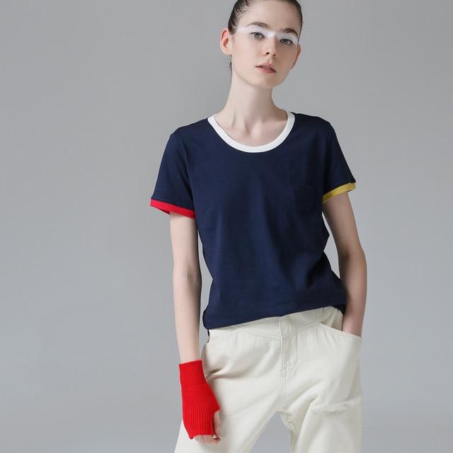 Toyouth Hit couleur bord T-Shirts pour femmes base coton T-Shirt décontracté o-cou T-Shirt Femme S ~ XXL été hauts à manches courtes T-Shirts