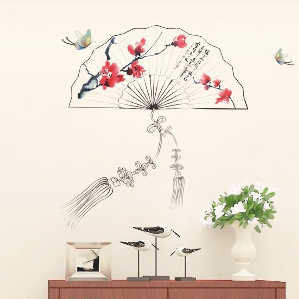 Ventagli Da Parete Decorativi us $7.3 |cinese tradizionale scenario ventaglio pieghevole grafici pendente  wall sticker soggiorno camera da letto corridoio della parete carta da