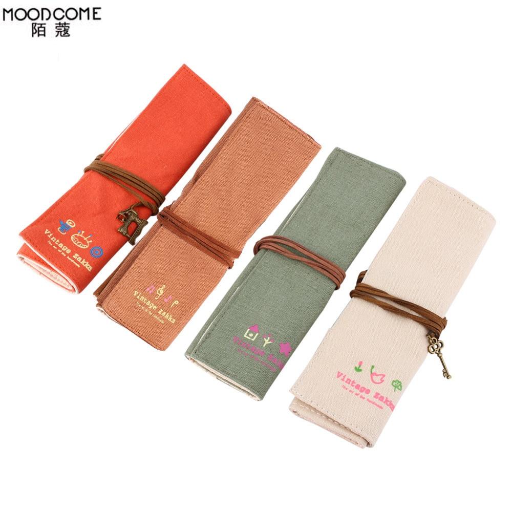 Maquiagem Canvas Wrap Roll Up Pen Pencil Makeup Case Holder Makeup Brush Retro Romantic Bag Pouch Srorage Bag Toiletry Kit