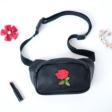 Fashion bag belt women soft PU leather waist with embroidery rose hip bags designer black pouch for woman