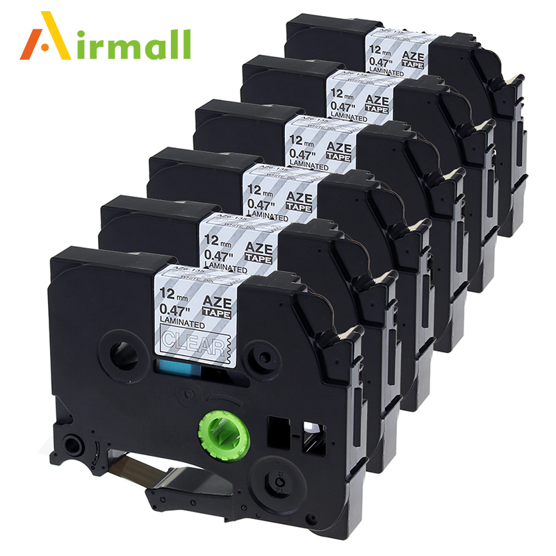 Airmall 6 Pake Compatible Brother P-Touch label printer 12mm TZ135 TZ-135 TZe-135 tze tape 135 White on Clear Label Maker Ribbon
