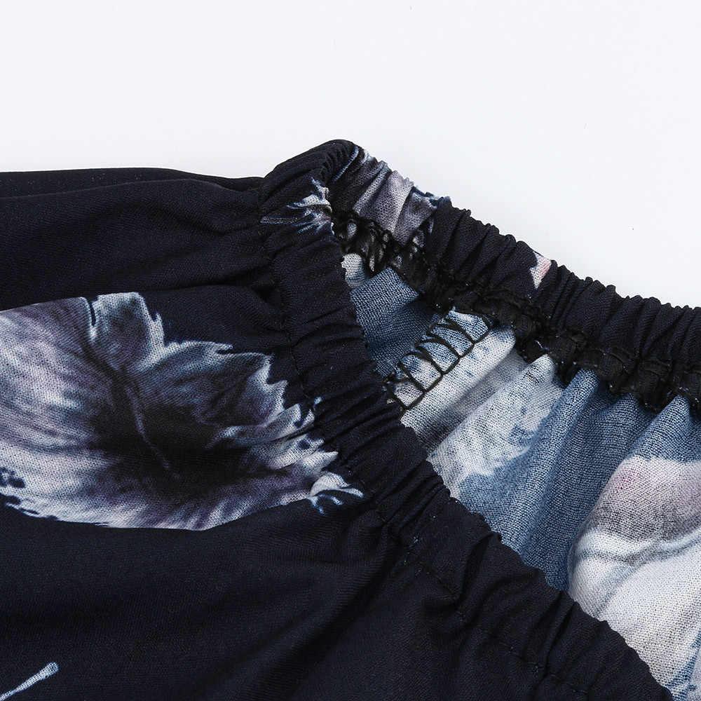 Tops y blusas para mujer manga larga 2019 Impresión de encaje cuello hombro blusa de talla grande S-5XL camisas