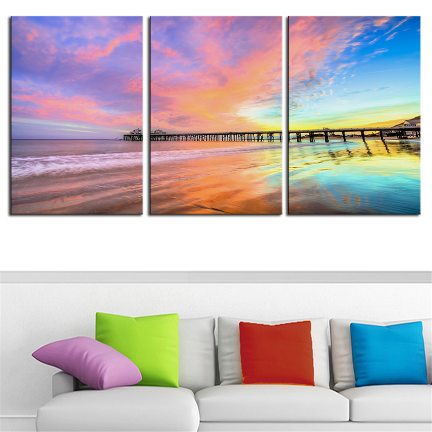 NO FRAME 3pcs Newport Beach venice santa monica Pier Printed Oil Painting On Canvas wall Painting for Home Decor Wall picture